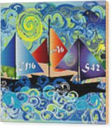 Sailing With Dolphins Wood Print