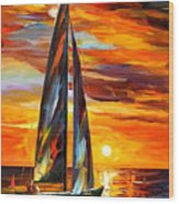 Sailing With The Sun - Palette Knife Oil Painting On Canvas By Leonid Afremov Wood Print