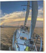 Sailing Yacht And Tropical Storm Ana Outflow  Wood Print