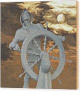 Sailor In Coming Storm Wood Print