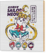 Sailor Meow Wood Print