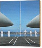Sailors Aboard The Aircraft Carrier Uss Nimitz  Wood Print