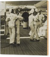 Sailors Aboard The Uss Olympia Waltzing Wood Print by Everett