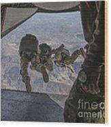 Sailors Jump Out Of A C2-a Greyhound Wood Print