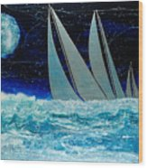 Sailors Night Race Wood Print