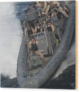 Sailors Operate A Rigid-hull Inflatable Wood Print