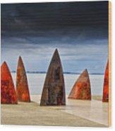 Sails And Shark Fins Wood Print
