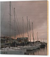 Sails In Pink Wood Print