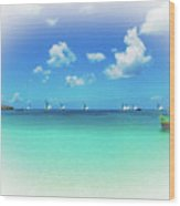 Sails In The Wind Sandy Ground Anguilla Wood Print