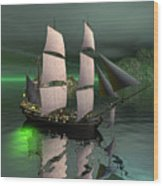 Sailship In The Night Wood Print