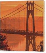 Saint John's Bridge At Sunrise Wood Print