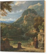 Saint Anthony Of Padua Introducing Two Novices To Friars In A Mountainous Landscape Wood Print