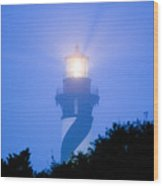 Saint Augustine Lighthouse In The Fog Wood Print