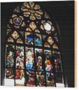 Saint Augustine Stained Glass Wood Print