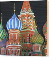 Saint Basils Cathedral On Red Square, Moscow Wood Print