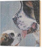 Saint Bernard Dad And Pup Wood Print