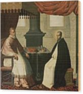 Saint Bruno And Pope Urban II Wood Print by Francisco de Zurbaran