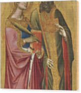 Saint Catherine And A Bishop Saint Possibly Saint Regulus Wood Print