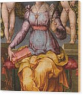 Saint Catherine Of Alexandria Crowned By Two Angels Wood Print