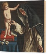 Saint Catherine Of Siena Receiving The Crown Of Thorns From The Christ Child Wood Print