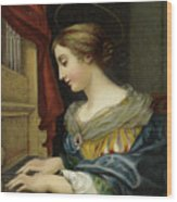 Saint Cecilia Playing The Organ Wood Print