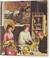 Saint Eligius In His Workshop Wood Print