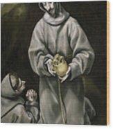 Saint Francis And Brother Leo Meditating On Death Wood Print