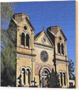 Saint Francis Cathedral Santa Fe Wood Print by Kurt Van Wagner