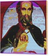 Saint Holding Medallion Wood Print