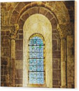 Saint Isidore - Romanesque Window With Stained Glass - Vintage Version Wood Print