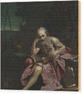 Saint Jerome In The Desert Wood Print
