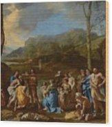 Saint John Baptizing In The River Jordan Wood Print