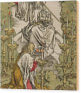 Saint John On The Island Of Patmos Receives Inspiration From God To Create The Apocalypse Wood Print