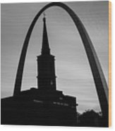 Saint Louis Skyline Silhouettes - Black And White - Usa Wood Print