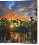 Saint Lucie River Sunset Wood Print