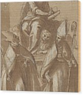 Saint Mark With Two Bishops And Putti Wood Print