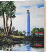 Saint Marks River Light House Wood Print