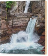 Saint Mary Falls - Glacier National Park Wood Print