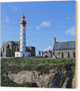 Saint-mathieu Lighthouse And The Ruins Of The Abbey Of Saintlmat Wood Print