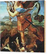 Saint Michael Overthrowing The Demon  Wood Print by Raphael