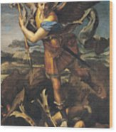 Saint Michael Overwhelming The Demon Wood Print