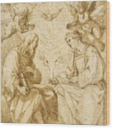 Saint Paul And Saint Stephen Crowned By Angels Wood Print