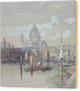 Saint Pauls From The River Wood Print by David Roberts