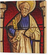 Saint Peter  Stained Glass Wood Print