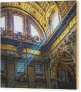 Saint Peter's Beams Of Light Wood Print