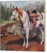 Saint Quincy Paint Horse Portrait Painting Wood Print