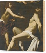 Saint Sebastian Succoured By The Angels Wood Print