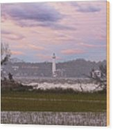 Saint Simon Island Lighthouse Wood Print