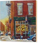 Saint Viareur And Park Avenue Bagel Shop Wood Print