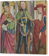 Saints Ambrose Exuperius And Jerome Wood Print